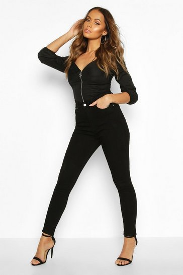 Womens Black High Rise Butt Shaper Jeans