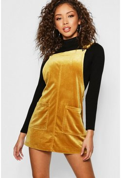 Womens Mustard Velvet Pocket Front Pinafore