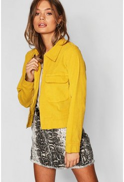 Womens Mustard Utility Pocket Zip Up Oversize Velvet Trucker