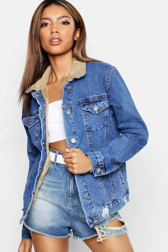 Womens Mid blue Teddy Lined Denim Trucker Jacket