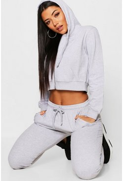 Womens Grey Zip Through Cropped Hoody & Jogger Set