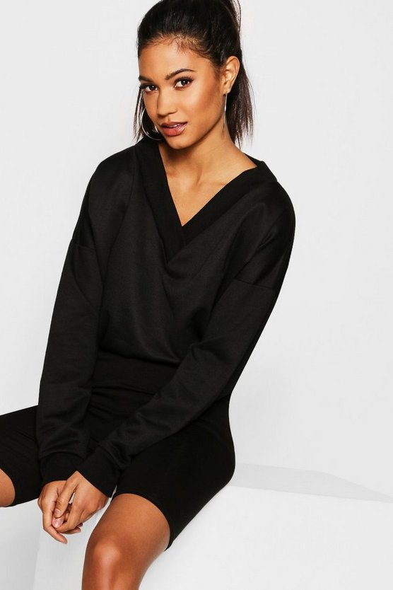 Womens Black Wide V Neck Cropped Sweat