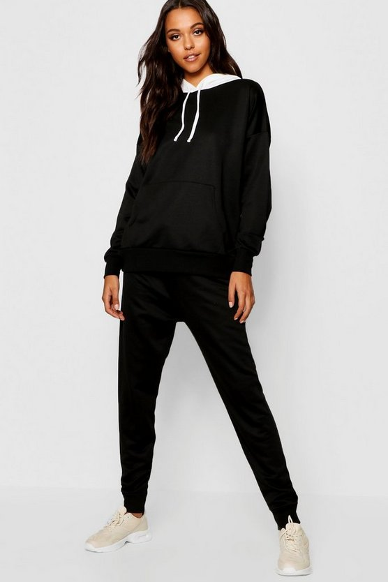 Womens Black Contrast Hood Jogger Set