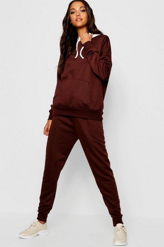 Womens Chocolate Contrast Hood Jogger Set