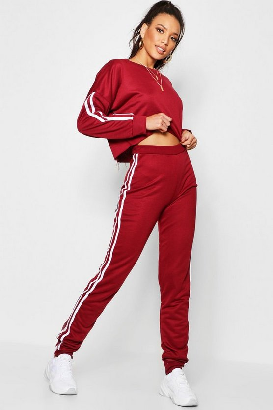 Womens Side Stripe Sweat and Jogger Set