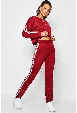 Womens Burgundy Side Stripe Sweat and Jogger Set