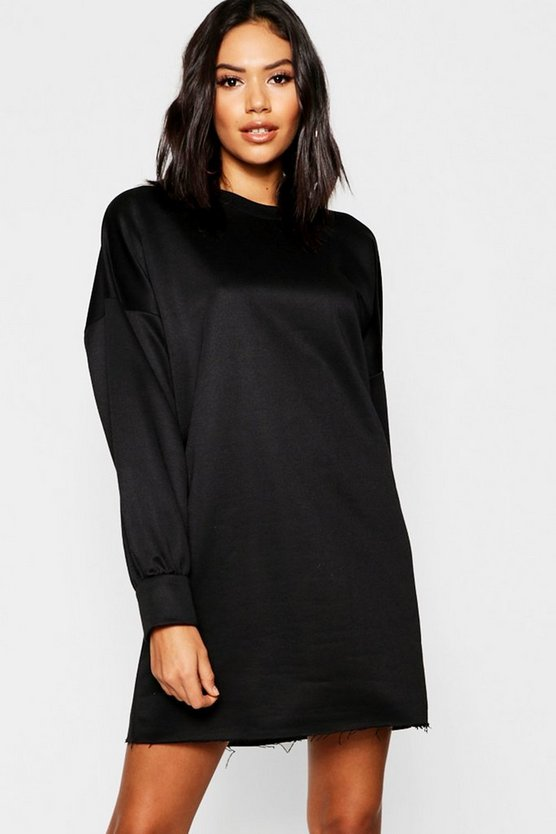 Womens Black Oversized Balloon Sleeve Sweater Dress
