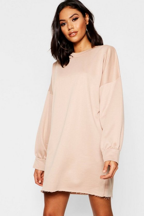Womens Stone Oversized Balloon Sleeve Sweater Dress