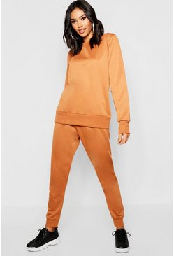 Womens Camel Crew Neck Oversized Sleeve Jogger Set