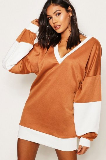 Womens Camel Extreme V Oversized Sweat Dress