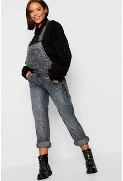 Womens Denim-blue Stonewash Relaxed Denim Dungarees