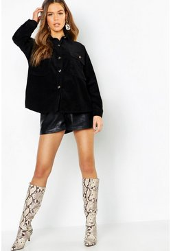 Womens Black Super Oversized Mock Horn Button Cord Shirt