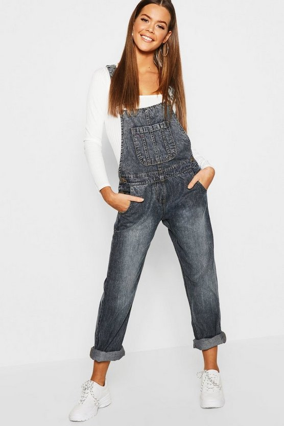 Womens Dark blue Stonewash Relaxed Fit Denim Dungarees