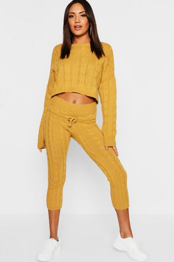 Cable Knit Cropped  Lounge Set