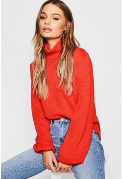 Womens Burnt orange Oversized Roll Neck Jumper