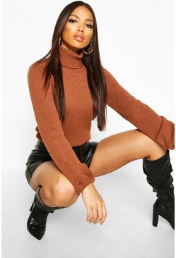 Mocha Oversized Roll Neck Jumper