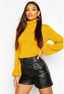 Womens Mustard Oversized Roll Neck Sweater