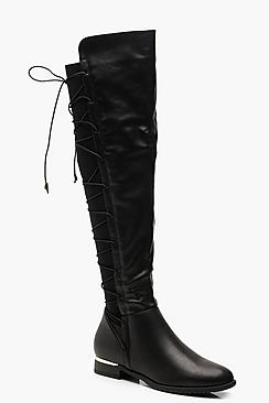 Lace Back Flat Knee Boots
