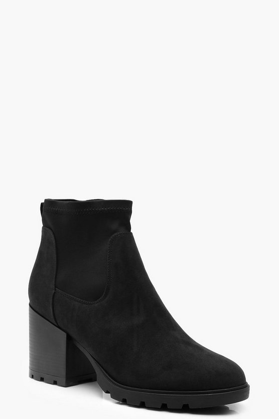 Womens Black Chunky Block Heel Sock Boots