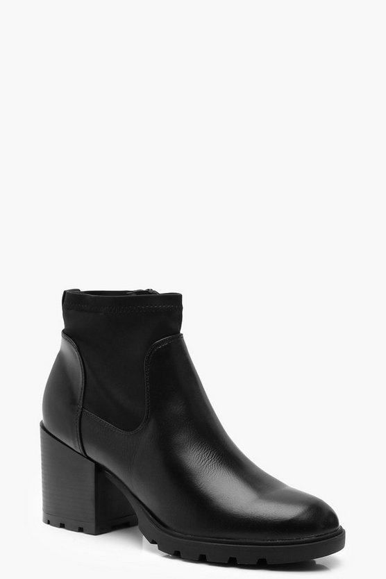 Black Chunky Block Heel Sock Boots