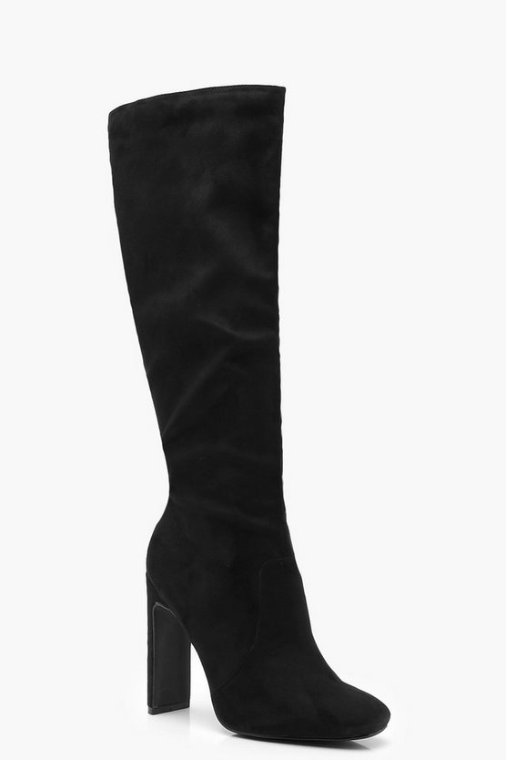 Womens Black Flat Heel Knee Boots