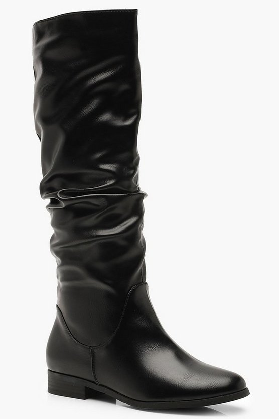 Black Ruched Knee High Boots