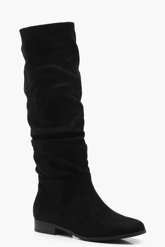 Womens Black Ruched Knee High Boots