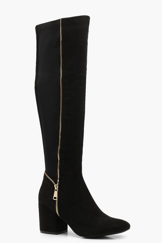 Womens Black Block Heel Zip Trim Knee Boots
