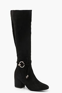 Metal Trim Block Heel Knee Boots