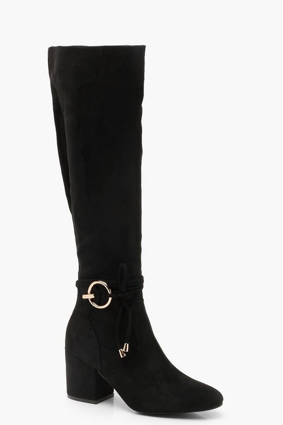 Metal Trim Block Heel Knee Boots