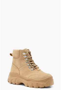 Sand Lace Up Hiker Boots