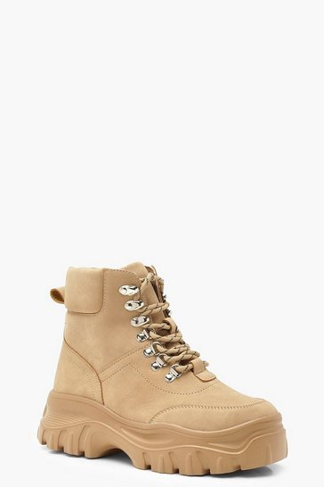 Womens Sand Lace Up Hiker Boots