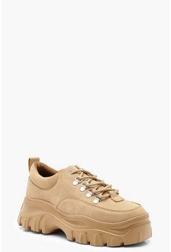 Womens Beige Low Chunky Hiker Trainers