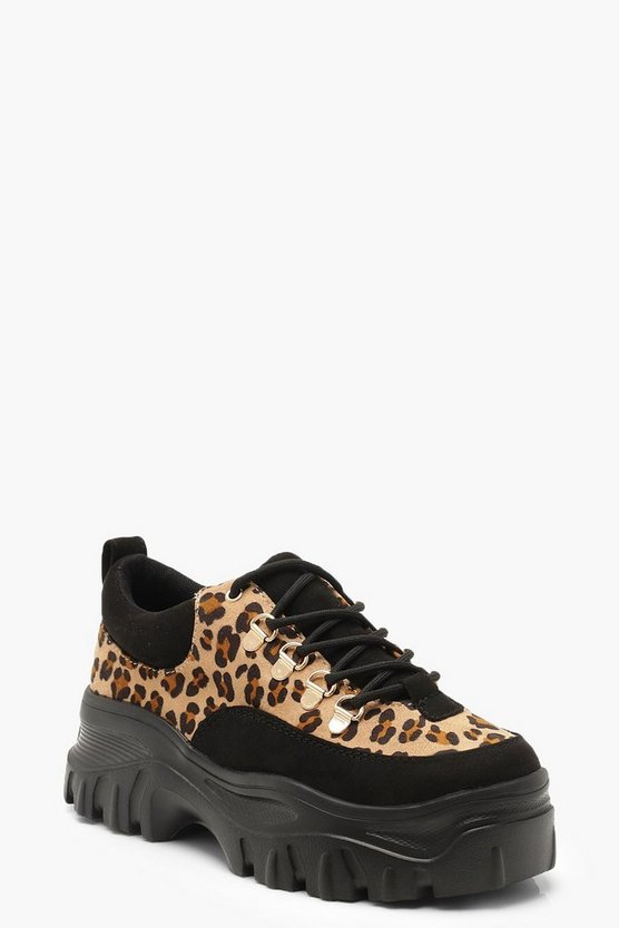Leopard Low Chunky Hiker Trainers