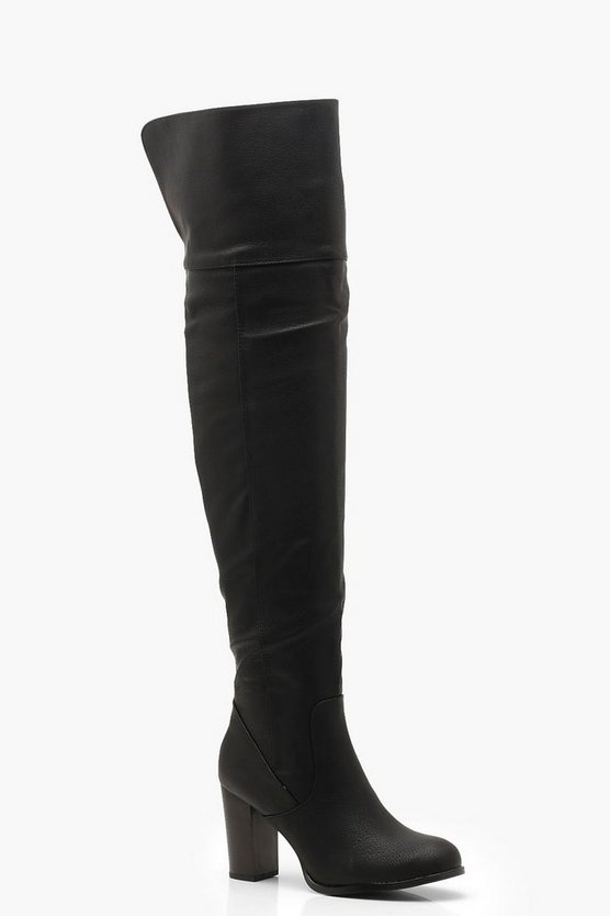 Block Heel Knee High Boots