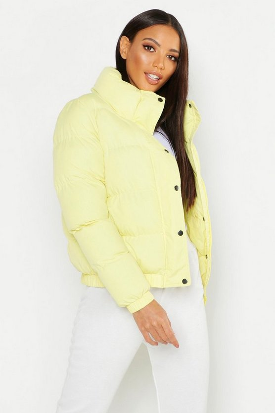 Womens Lemon Funnel Neck Padded Jacket