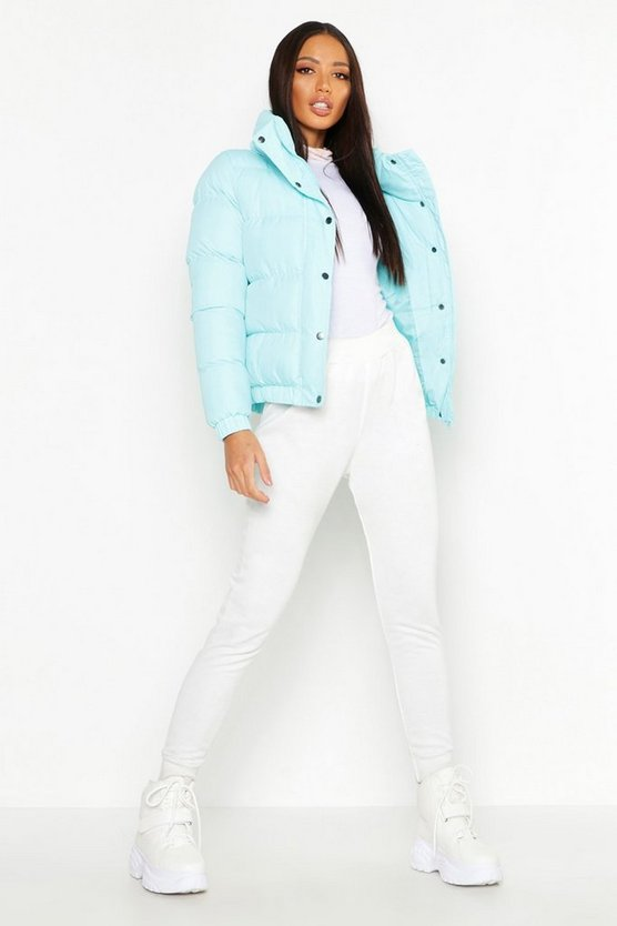 Womens Turquoise Funnel Neck Padded Jacket