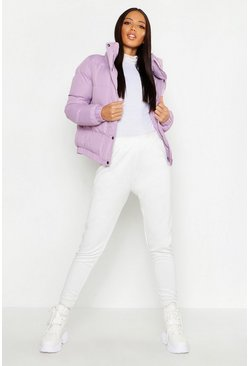 Womens Lilac Funnel Neck Padded Jacket