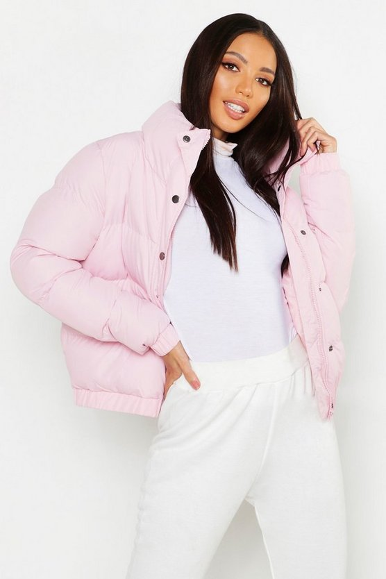 Womens Pink Funnel Neck Padded Jacket