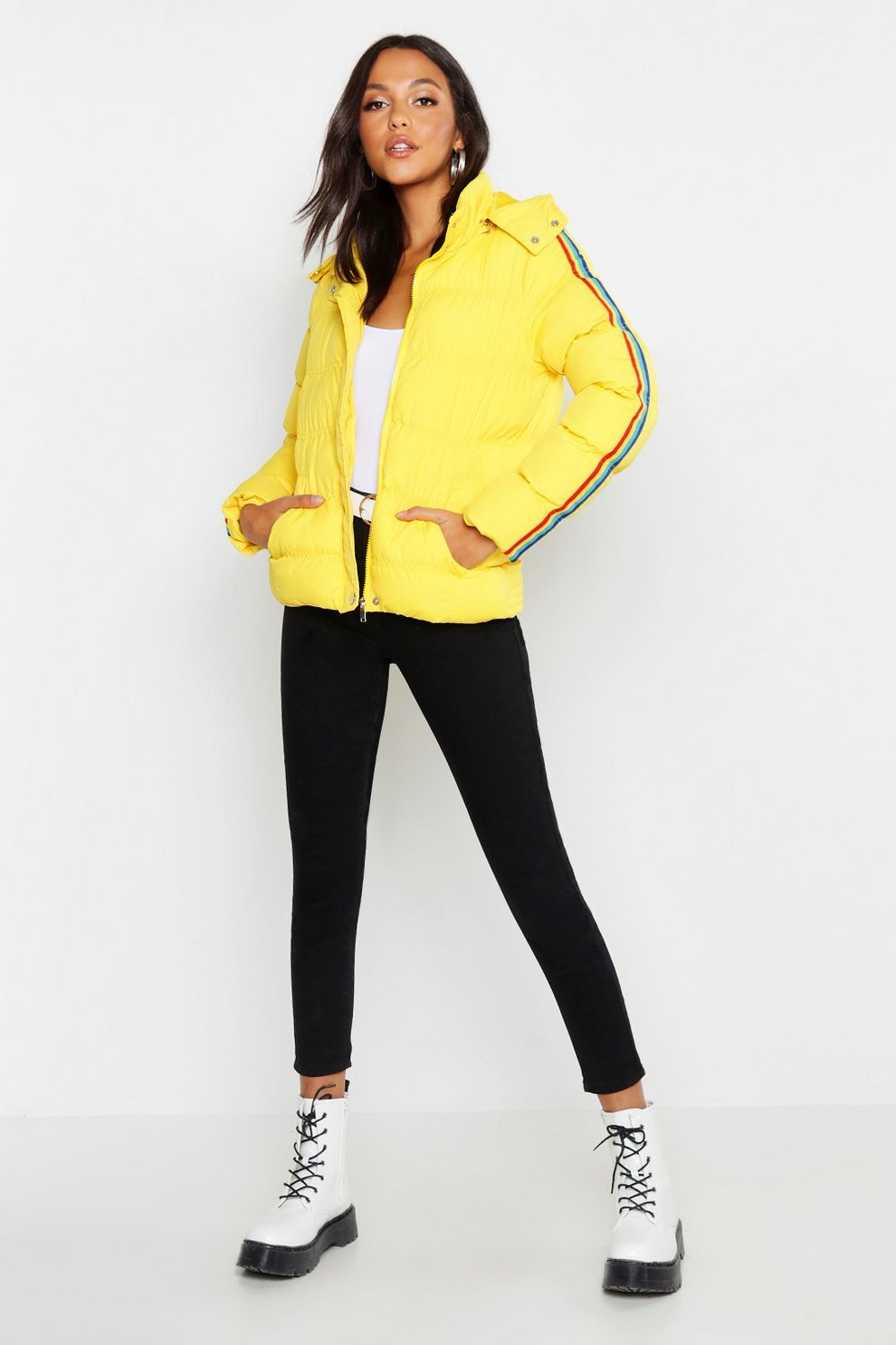 f83c5e216 Womens Yellow Rainbow Stripe Puffer Jacket