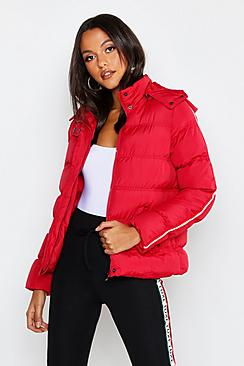 Stripe Sleeve Puffer Jacket
