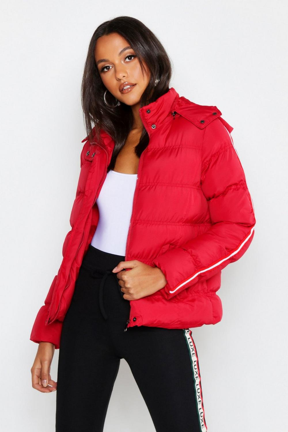 df36b2a52 Womens Red Stripe Sleeve Puffer Jacket. Hover to zoom