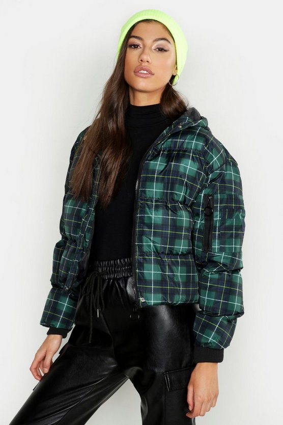 Womens Green Checked Puffer
