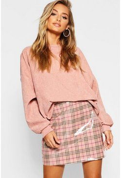 Womens Pink Vinyl Check Mini Skirt