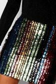 936a1113b ... Womens Black Rainbow Stripe Sequin Mini Skirt alternative image
