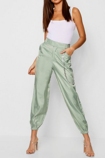 Womens Sage Satin Chain Detail Cargo Trousers