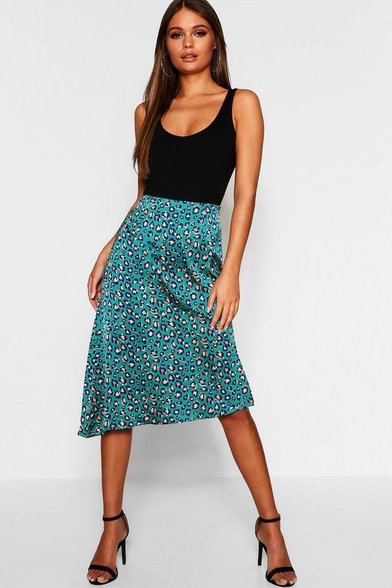 Womens Teal Satin Leopard Cut Out Asymetric Skirt