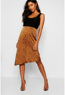 Womens Tan Satin Leopard Asymetric Hem Midi Skirt