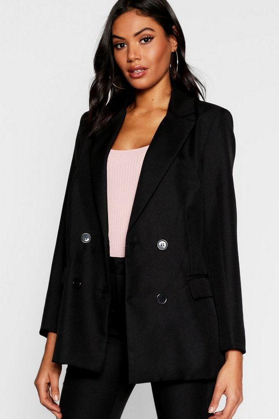 Womens Black Tailored Double Breasted Blazer