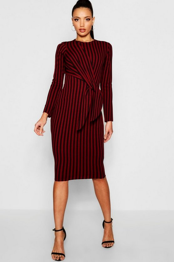 Stripe Side Tie Long Sleeve Midi Dress